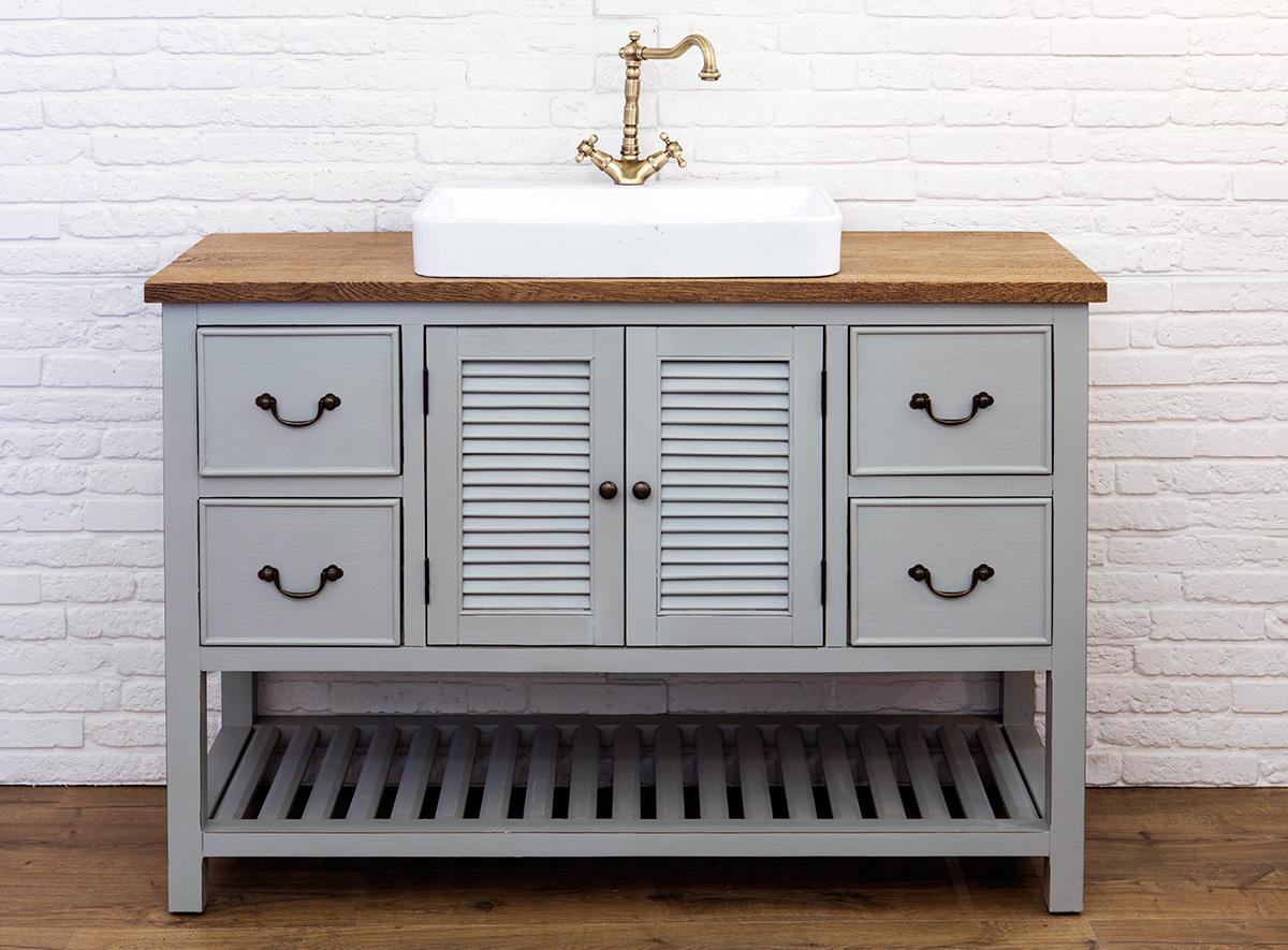 ארון אמבטיה כפרי בצבע אפור