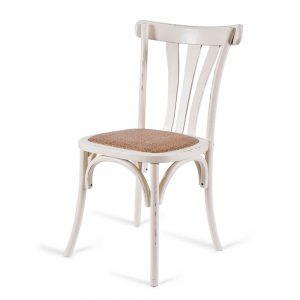 כסא אוכל רטרו לבן שמנת