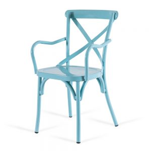 כסא אלומיניום איקס תכלת עם ידיות
