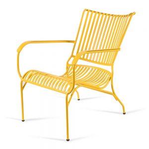 כסא אלומיניום נוח נמוך צהוב