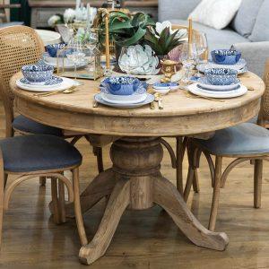 שולחן אוכל עגול נפתח מעץ מלא