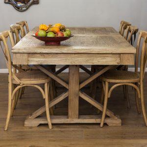 שולחן אוכל מלבני נפתח מעץ מלא