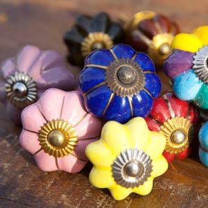 ידיות קרמיקה פרחים