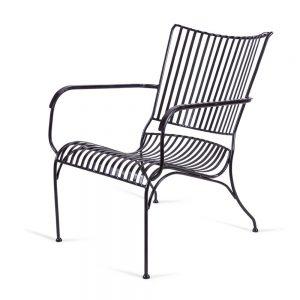 כסא נוח נמוך מברזל שחור