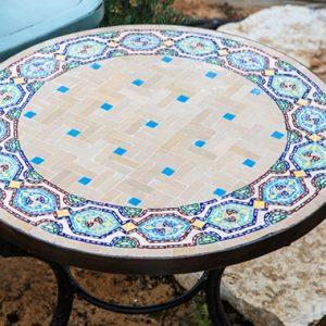 """שולחן פסיפס דגם """"מרוקו"""" קוטר 60 – סדרת """"אטלס"""""""