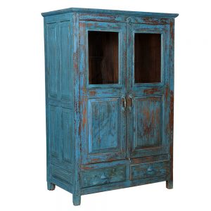 שידה הודית עתיקה כחולה AA020