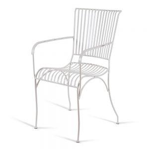 כסא נוח גבוה מברזל לבן