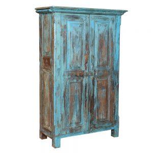 ארון עץ עתיק כחול ווש AA021