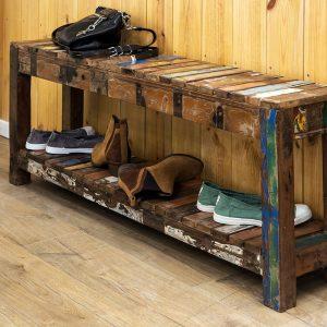 ספסל עץ ממוחזר מהודו