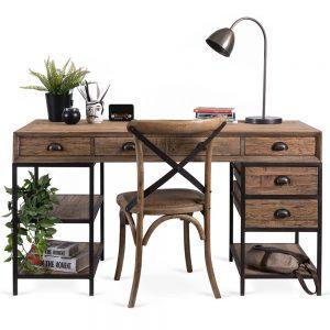 שולחן כתיבה מעץ אלון ישן