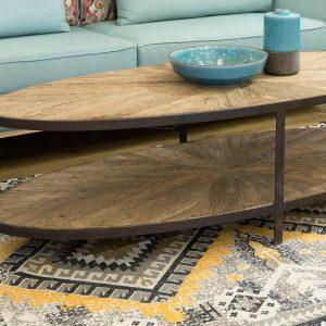 שולחן סלון אובלי מעץ אלון ישן