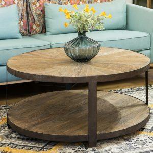 שולחן סלון עגול מעץ עם רגלי ברזל