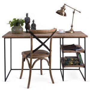 שולחן כתיבה מעץ עם רגלי ברזל