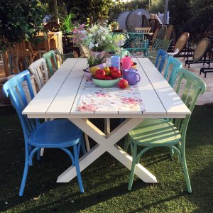 שולחן אלומיניום מלבני לגינה