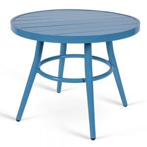 שולחן אלומיניום עגול נמוך כחול