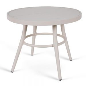 שולחן אלומיניום עגול נמוך שמנת