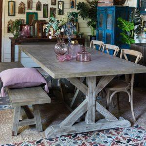 שולחן אוכל מלבני מעץ מלא RONCHO