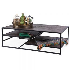 שולחן סלון עץ ברזל BARI