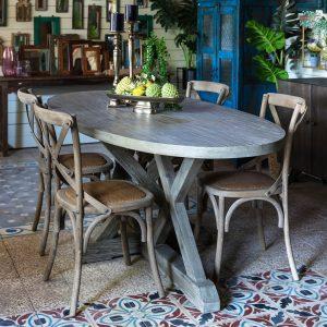 שולחן אוכל אובלי מעץ מלא ROVAL