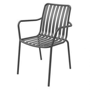 כסא אלומיניום עם ידיות River.H שחור