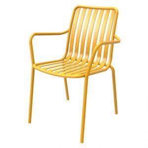 כסא אלומיניום עם ידיות River.H צהוב