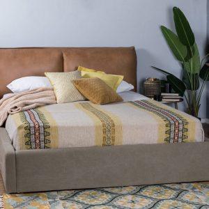 מיטת עור בשילוב בד 'אנבל'