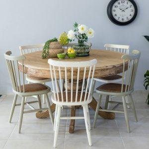שולחן אוכל עגול נפתח עץ מלא