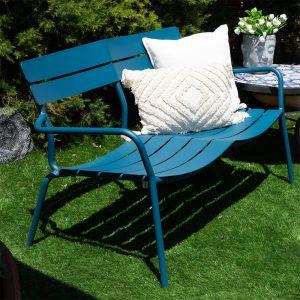 ספסל אלומיניום לגינה דגם רויאל כחול