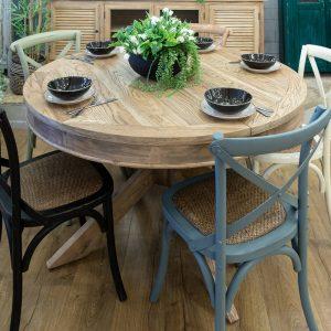 שולחן אוכל עגול נפתח עץ מלא קוטר 130